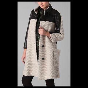Rebecca Minkoff Eniko Leather Trim Boucle Coat